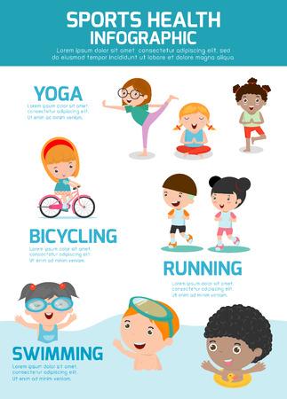 salud y deporte: Deportes Infografía Salud, las personas concepto Deportes Salud Serie de Ejercicios, natación, ciclismo, correr, yoga. Salud de los Niños deportes, salud infantil deportes, ilustración vectorial. Vectores