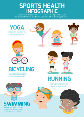 Sports Health Infographics, Sports Health concept people exercise set , swimming,cycling, running, yoga. kids sports health, child sports health, vector illustration. Ilustração