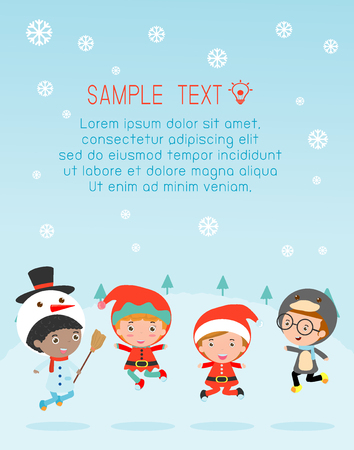 Kids With Christmas Costumes, kids in Christmas costume characters celebrate, Cute little christmas Children's collection, happy new year, christmas and children background, happy new year. Vettoriali