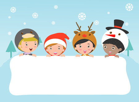 children and greeting Christmas and New Year card, kids peeping behind placard,kids in Christmas costume characters celebrate, Cute little christmas Childrens collection, happy new year, Vector