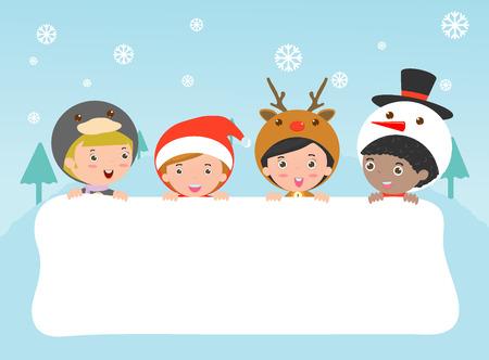 niños con pancarta: niños y tarjeta de felicitación de Navidad y Año Nuevo, los niños miran furtivamente detrás de cartel, niños en los caracteres del traje de Navidad celebran, pequeña colección linda de navidad infantil, feliz año nuevo, Vector