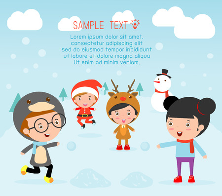 new year celebration: Kids With Christmas Costumes, kids in Christmas costume characters celebrate, Cute little christmas Childrens collection, happy new year, christmas and children background, happy new year.