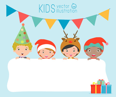 greeting people: children and greeting Christmas and New Year card, kids peeping behind placard,kids in Christmas costume characters celebrate, Cute little christmas Childrens collection, happy new year, Vector