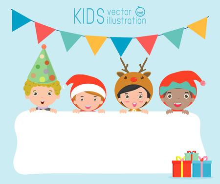 duendes de navidad: niños y tarjeta de felicitación de Navidad y Año Nuevo, los niños miran furtivamente detrás de cartel, niños en los caracteres del traje de Navidad celebran, pequeña colección linda de navidad infantil, feliz año nuevo, Vector