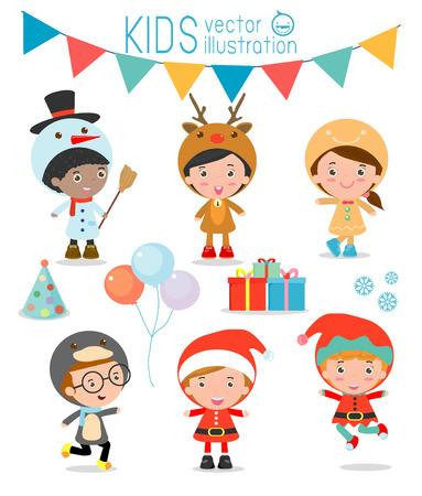 Vector children: Kids Với trang phục Giáng sinh thiết, trẻ em trong các nhân vật trang phục Giáng sinh ăn mừng, thu nhỏ dễ thương Giáng sinh cho trẻ em bị cô lập trên nền trắng, Giáng sinh của trẻ em, chúc mừng năm mới, Vector Illustration
