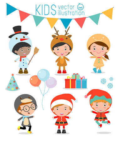 celebrate year: Kids With Christmas Costumes set, kids in Christmas costume characters celebrate, Cute little christmas Childrens collection isolated on white background, christmas Childrens,happy new year, Vector Illustration