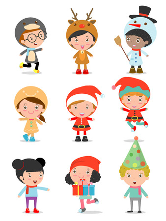 Kids With Christmas Costumes set, kids in Christmas costume characters celebrate, Cute little christmas Children's collection isolated on white background, christmas Children's,happy new year, Vector Illustration Vettoriali