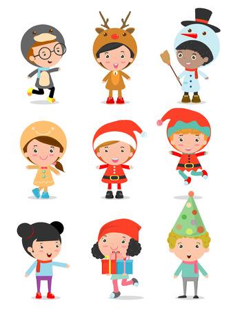 pinguinos navidenos: Niños con trajes de Navidad conjunto, los niños en los caracteres del traje de Navidad celebran, colección Cute little navidad de los niños aislados en fondo blanco, navidad niños de, feliz año nuevo, ilustración vectorial