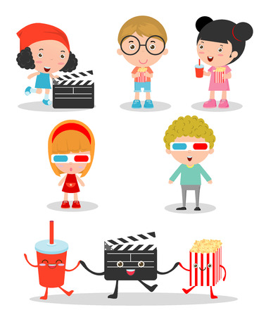 holiday movies: happy kids going to a movie together, children watching movie set, kids watching movie  and clapper and popcorn on white background, Illustration of Kids watching a movie in 3D, cinema.  cartoon.