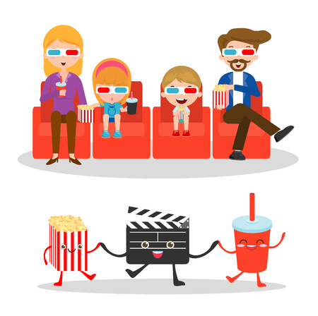 palomitas: ilustración vectorial de una película de observación de la familia, de la familia feliz de una película juntos, película y badajo y palomitas de maíz en el fondo blanco, ilustración de la familia viendo una película en 3D, el cine.