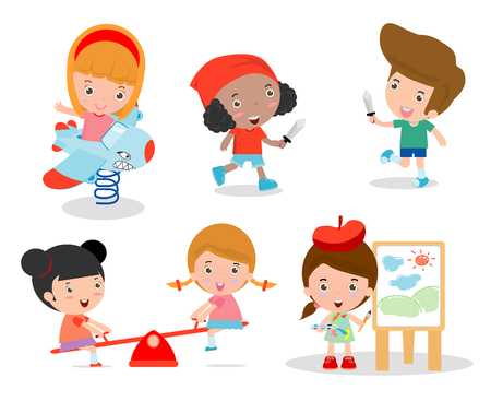 jardin de infantes: los niños lindos que juegan con los juguetes en patio de recreo, los niños en el parque, el tiempo de los niños aislados en fondo blanco, ilustración vectorial.