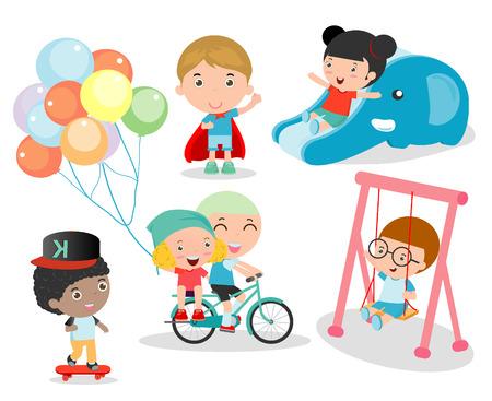 jardin de infantes: niños ccute juegan con los juguetes en el patio de recreo, los niños en el parque, felices los niños de dibujos animados jugar, tiempo niños aislados en fondo blanco, ilustración vectorial.