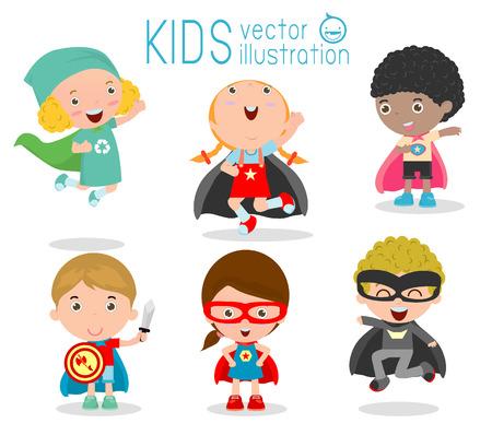 Crianças com trajes de super-heróis criados, crianças em trajes de super-heróis personagens isolados no fundo branco, coleção pequena bonito do super-herói da Criança, do super-herói da Criança, Super-Herói Kids.