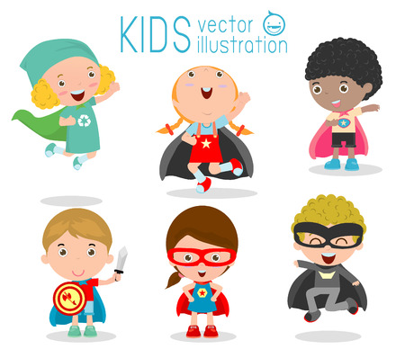 super human: Kids With Superhero Costumes set, kids in Superhero costume characters isolated on white background, Cute little Superhero Childrens collection, Superhero Childrens, Superhero Kids.