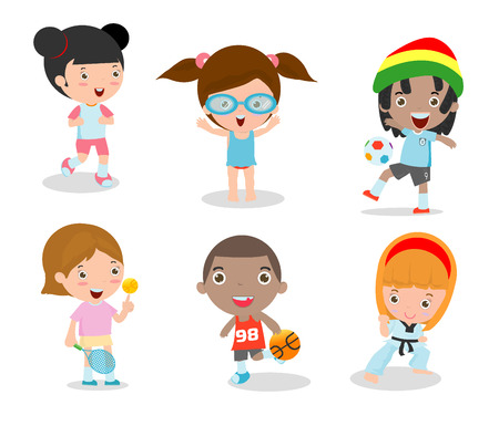 kids and sport, Kids playing various sports on white background , Cartoon kids sports,running, football, tennis, Taekwondo, karate, Swimming,Vector illustration  イラスト・ベクター素材