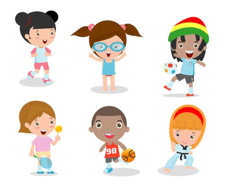 baloncesto chica: los ni�os y el deporte, Ni�os jugando varios deportes en el fondo blanco, dibujos animados deportes de los ni�os, correr, f�tbol, ??tenis, taekwondo, karate, nataci�n, ilustraci�n vectorial