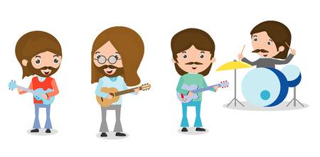 ilustración vectorial de cuatro personas en una banda de música en el fondo blanco, persona que tocan los instrumentos musicales, ilustración de joven tocando diferentes instrumentos musicales, ilustración vectorial