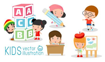 literatura: felices los niños de dibujos animados en el aula, concepto de la educación, a la plantilla de la escuela con los niños, los niños van a la escuela, de nuevo a la escuela, los niños lindos de la historieta, niños felices, ilustración vectorial. Vectores