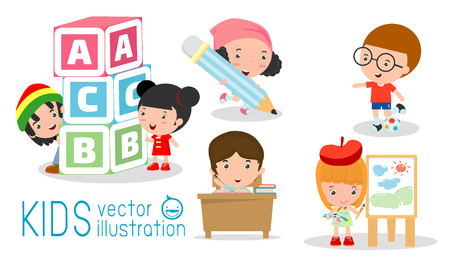 happy cartoon kids in classroom, education concept, back to school template with kids, Kids go to school, back to school, Cute cartoon children, happy children, Vector Illustration.