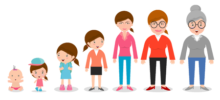 categories: Generation of women from infants to juniors. all age categories. isolated on white background, generation of women from infants to seniors, Stages of development, design illustration.
