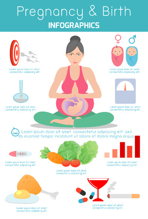pregnancy yoga: Pregnancy and birth infographics and icon set, Gynecology and pregnancy infographic template,  presentation template and icons set, Motherhood elements, Pregnancy Vector illustration Illustration