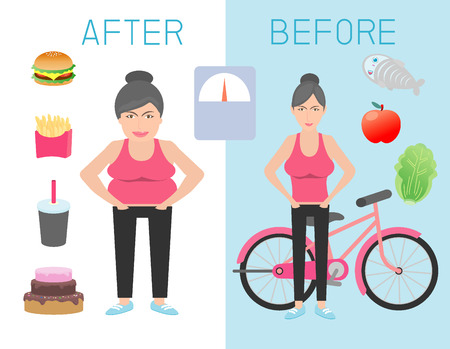 weight loss plan: fat and slim woman figure before and after the diet,healthy lifestyle,obese women lose weight ,thick and thin girls,Fat and thin woman before and after, Vector Illustration