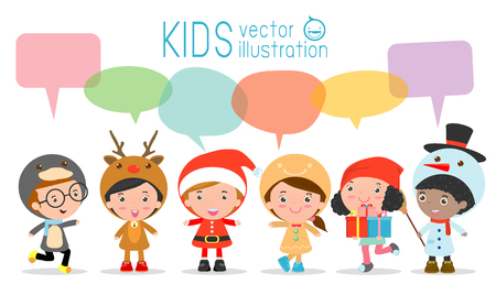 Speech: Cute kids with speech bubbles on white background, stylish children Christmas Costumes with speech bubble, children talking with speech balloon. happy new year Vector Illustration