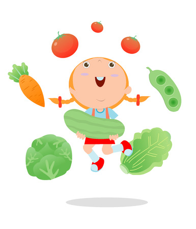 nutrition icon: Happy kid holding smiling live vegetables, Children and vegetables, Healthy children food concept, Happy kids holding jumping vegetables, children in the farm,kid and vegetables, Vector Illustration