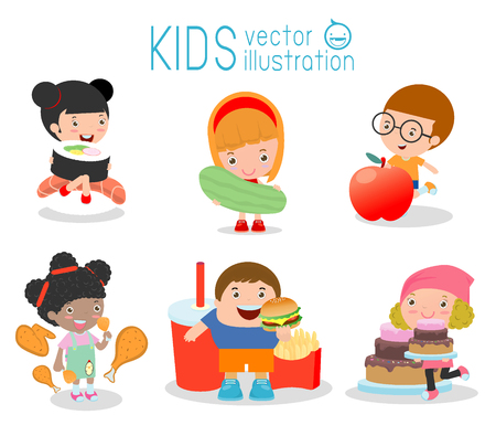 verb: set of child with food, Kids holding food, kids and foods on white background, Vector Illustration