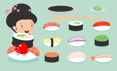 sushi: Sushi set, cute japanese Girl in kimono holding with sushi, cute sushi set, Japanese food, sushi icons,Girl with Sushi Illustration