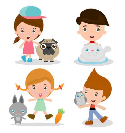 enamorados caricatura: Niños y Mascotas, los niños junto a sus mascotas, niños y mascotas, los niños con sus mascotas, ilustración vectorial. Aislado en el fondo blanco