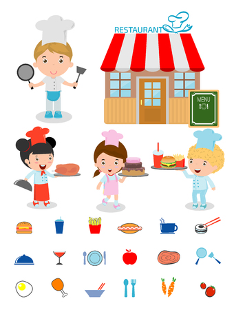 drink food: Cute Kids Chef,Kids Cooking, Children Cooking, Children chef cute, kids in a chefs hat,chefs cooking, costume of chef for kids, food icons, restaurant, kids menu, food and drink, kids and restaurant Illustration