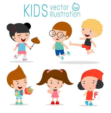 niño saltando: Comportamiento niño malo, chicos malos, chico malo, mala muchacha, los niños malos, El mal de niño en el fondo blanco, matones .child, chico patada salto, ilustración vectorial Vectores