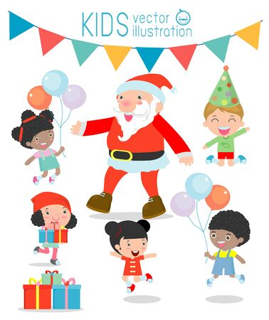 handing: Santa With Kids, Children jumping with joy when met Santa Claus,Merry Christmas,Santa handing out gifts to children on white background, Vector Illustration