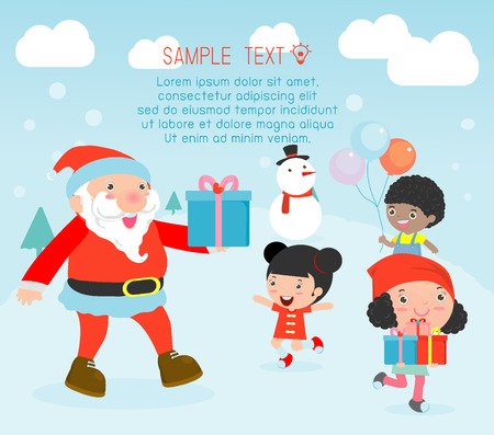 papa noel: Papá repartiendo regalos a los niños, diseño de carteles de Navidad con Santa Claus, Santa con los niños, niños que saltan de alegría cuando se reunió de Papá Noel, Feliz Navidad, ilustración vectorial