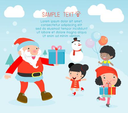 weihnachtsmann lustig: Weihnachts austeilt Geschenke an die Kinder, Weihnachten Plakatentwurf mit Weihnachtsmann, Santa mit Kindern, Kinder springen vor Freude, als erf�llt Weihnachtsmann, frohe Weihnachten, Vektor-Illustration Illustration