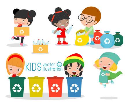 kinderschoenen: Kinderen verzamelen van afval voor recycling, Illustratie van Kids Scheiden Trash, recycling afval, sparen de Wereld, Jongen en meisje recycling, Kids Trash, kinderen en recycling Scheiden.