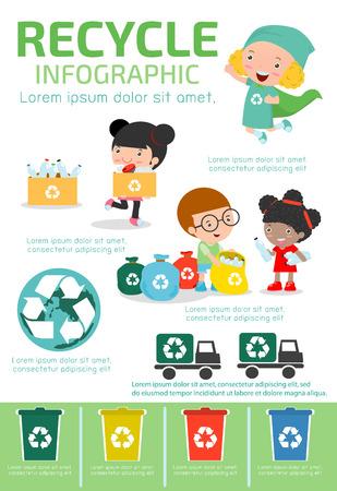 reciclar: Reciclar Infografía, recoger la basura para reciclar, salvar el mundo, Chico y reciclaje chica, niños segregantes de basura, niños y reciclaje, Ilustración segregar a la gente de la basura. Vectores