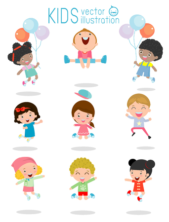 vectors: jumping kids, Multi-ethnic children jumping, Kids jumping with joy , happy jumping kids, happy cartoon child playing, Kids playing on white background , kids jamp,Vector illustration