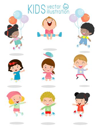 niños en recreo: niños saltando, niños multiétnicos de salto, para niños que saltan con alegría, feliz, niños saltando feliz que juega niño de dibujos animados, los niños jugar en el fondo blanco, niños jamp, ilustración vectorial
