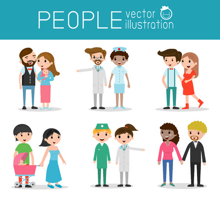 family and children ,family and kids, family life, Antenatal Care with doctor, Doctor with pregnant woman ,Medical examination. Vector illustration.