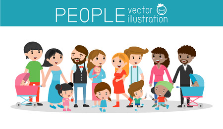 nationalities: family and children ,family and kids, family life, set of Happy family, Different nationalities and dress style son white background, people character  concept, African-American, Asian. European, Illustration