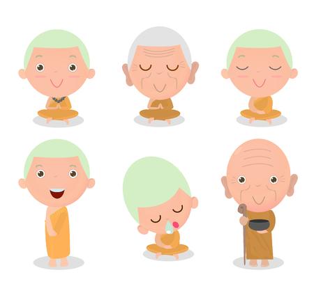 moine: Moine bouddhiste caractère, bande dessinée moine bouddhiste, Monk ensemble, moines thaïlandais, les moines chinois, moine assis paisiblement dans la méditation, prêtre bouddhiste chinoise, le monachisme bouddhiste, néophyte prennent méditent. Illustration