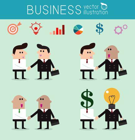 dogma: set of business partners handshaking, business men handshake, Vector Illustration