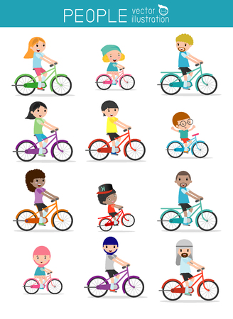 exercise bike: Set of diverse  family riding bikes isolated on white background.  Different nationalities and dress styles. Happy family riding bikes isolated on white background , Sports family.