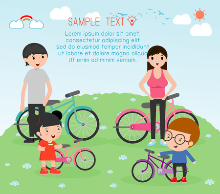 dad son: Sports family, family and bikes,  people character cartoon concept. Sports family , vector illustration Illustration