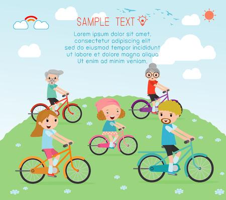 niños en bicicleta: Conjunto de diversas bicicletas que monta la familia, de la familia de montar bicicletas de la familia feliz, Ciclismo Juntos, el concepto de la gente personaje de dibujos animados. familia del deporte. familia andar en bicicleta, ilustración vectorial