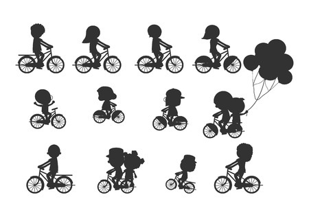 riding: Set of diverse bicyclists silhouettes, Happy family riding bikes , Family Biking Together, Sports family. family and bikes, bicyclists silhouettes collection, vector illustration Illustration