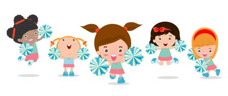 Illustrazione vettoriale di cheerleaders, Cheerleader, cheerleading ragazza. Archivio Fotografico - 48215970