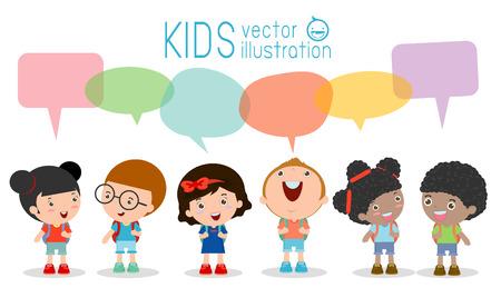 Roztomilé děti s bubliny, sada různých děti a různých národností s bublinkami řeči na bílém pozadí, děti chodí do školy s balón řeči, zpátky do školy, Vector